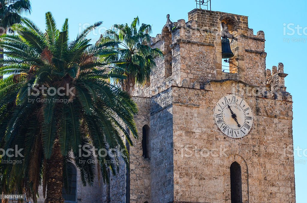 Monreale Cathedral Bell Tower and Clock stock photo
