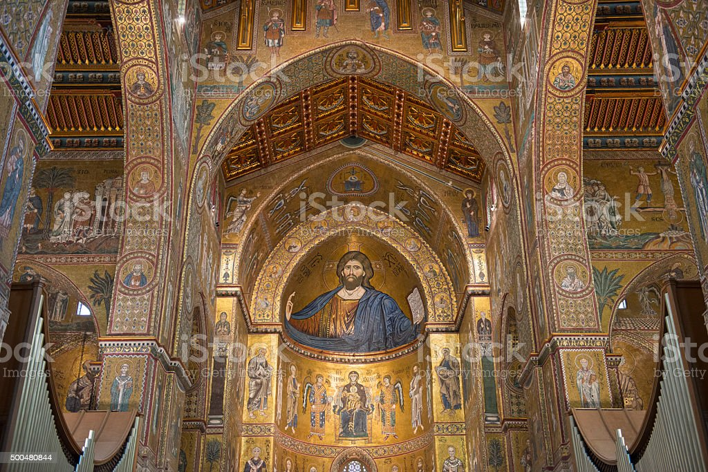 Monreale Cathedral, in Sicily stock photo