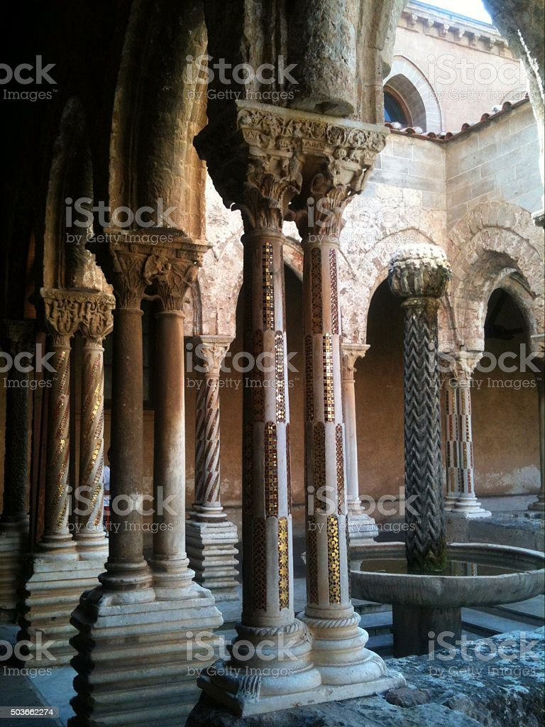monreale - cloister of the duomo stock photo