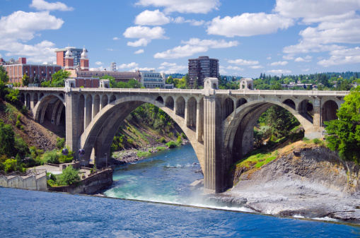 View of the Monroe Street Bridge in Spokane, WA. The bridge was the third longest concrete bridge in the world when it was completed in 1911 and was renovated in 2003.