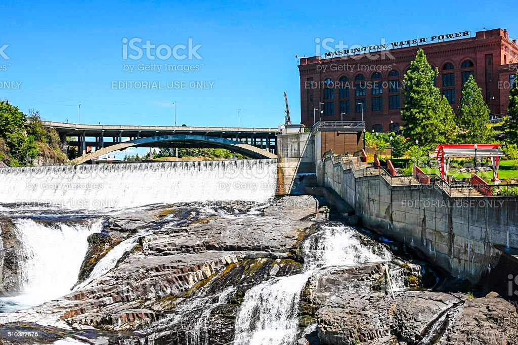 Monroe Street Dam in Spokane, Washington stock photo