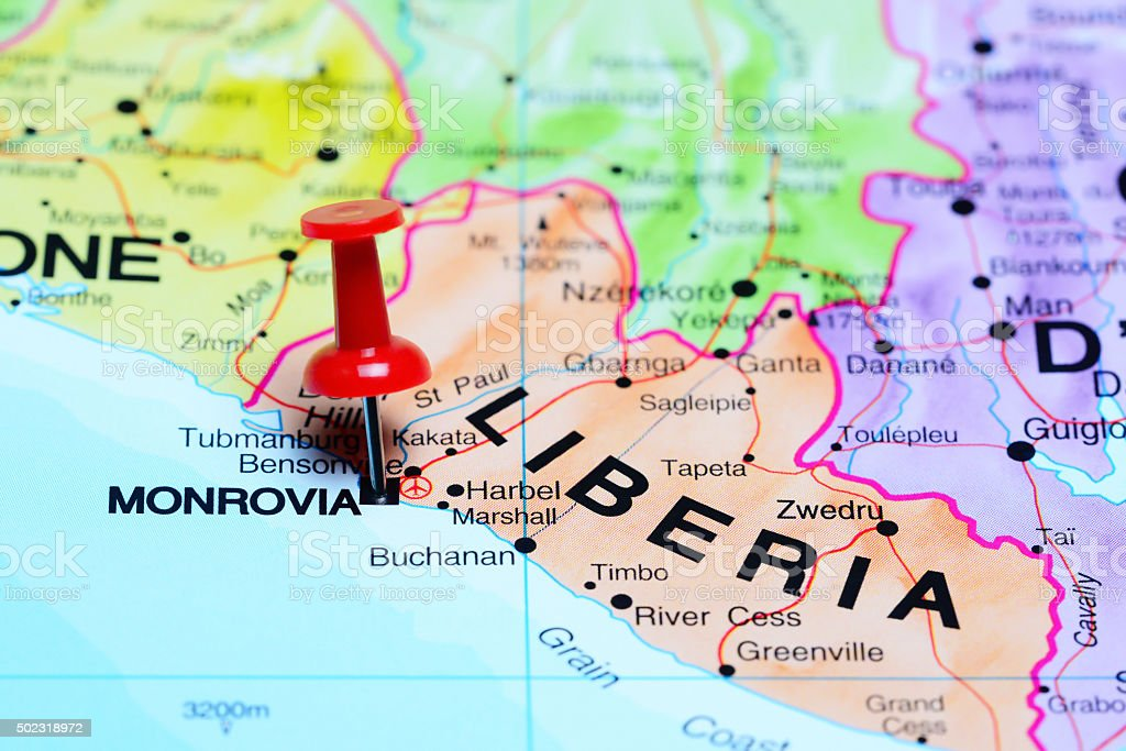 Monrovia pinned on a map of Africa stock photo