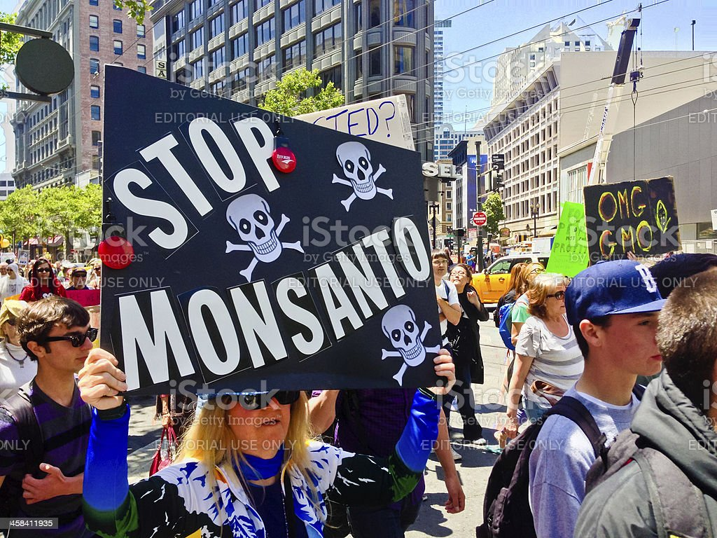 Monsanto and Genetically Modified Food Protest in San Francisco stock photo