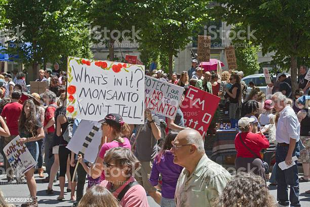 Monsanto and Genetically Modified Food Protesters At a Rally