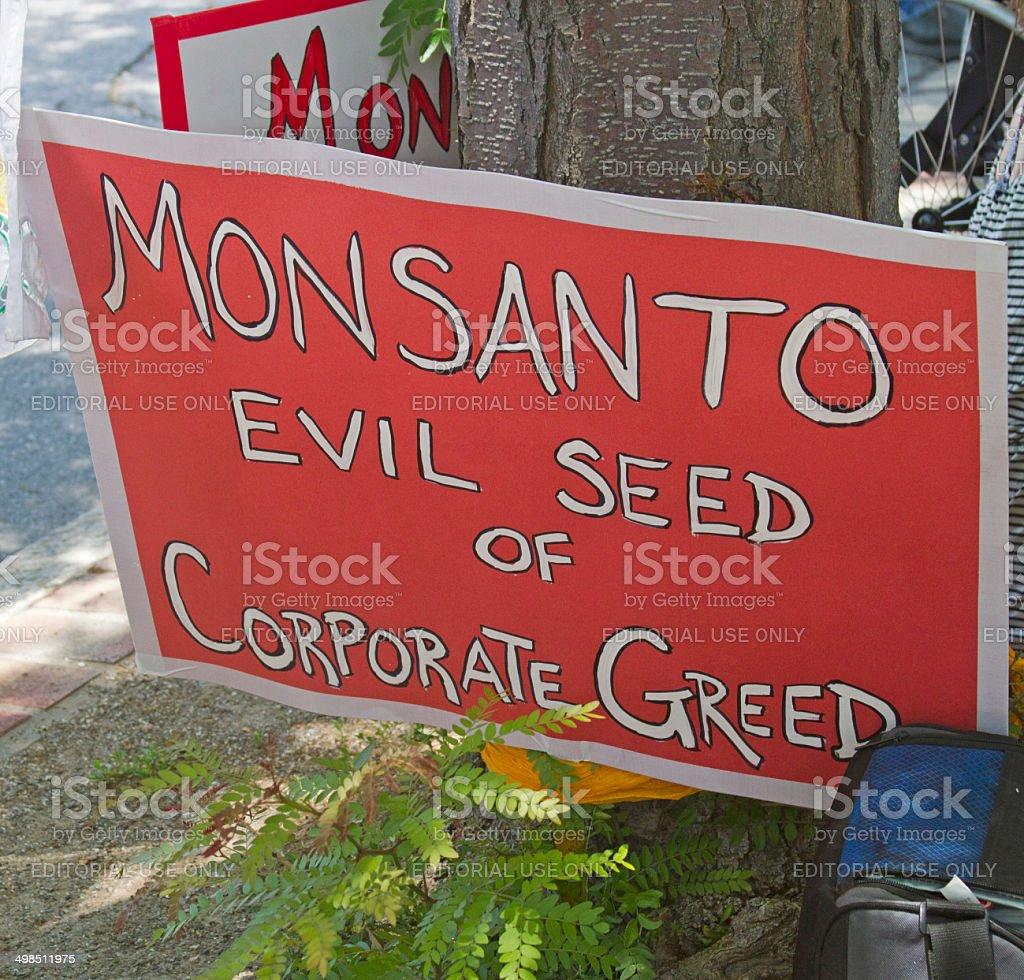 Monsanto, mal semente de empresas ganância placa - foto de acervo