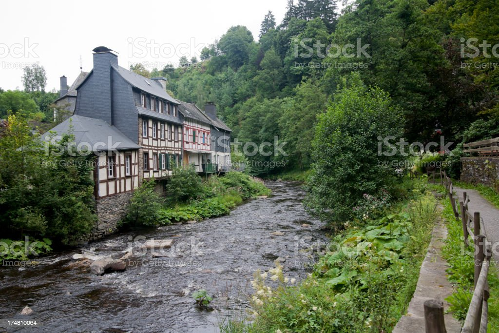 Monschau, river and house. royalty-free stock photo