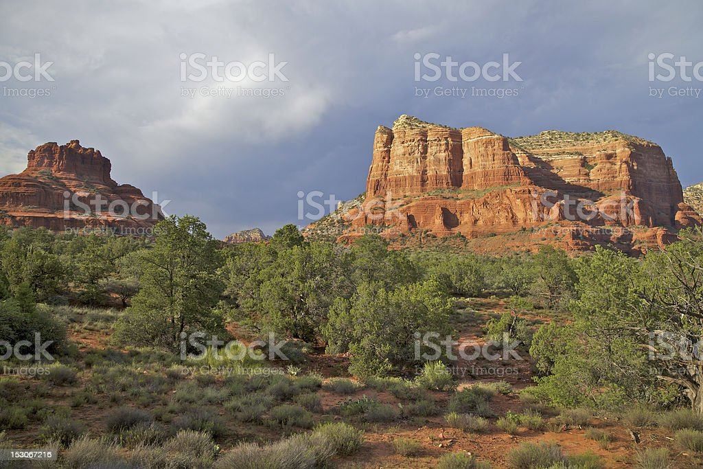 Monsoon at Courthouse Rock stock photo