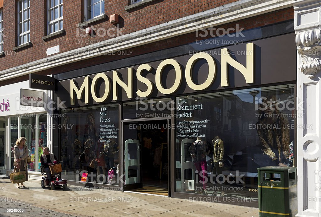 Monsoon clothing shop stock photo