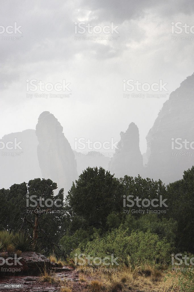 Monsoon Rain Storm Desert Hoodoo Landscape stock photo