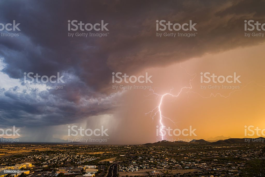 Monsoon Thunderstorm With Forked Lightning stock photo