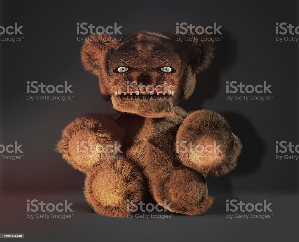 monster demon horror evil teddy bear 3d rendering zbiór zdjęć royalty-free