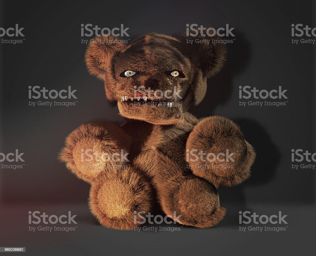 monster demon horror evil teddy bear 3d rendering zbiór zdjęć royalty-free
