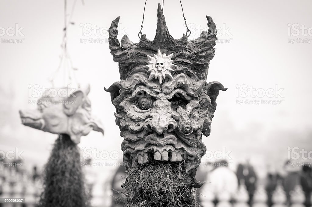 monster head on vase. stock photo