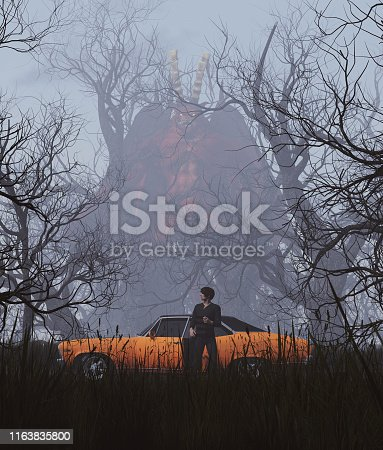 istock Monster in creepy forest 1163835800