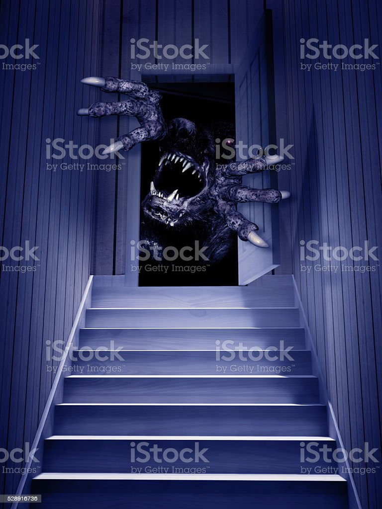 Monster in open door stock photo
