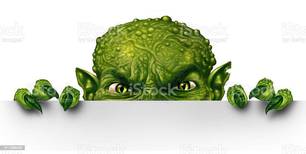 Monster Peeking stock photo