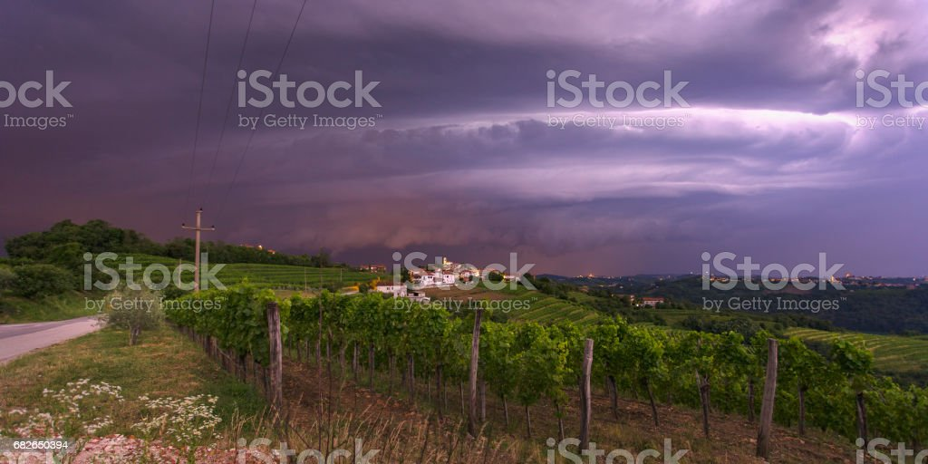 Monster shelf cloud looming over the city stock photo