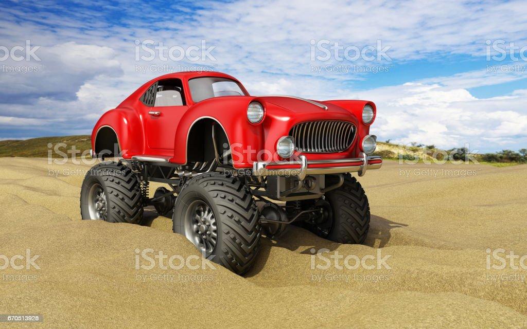 Monster truck offroad car in sand desert – Foto