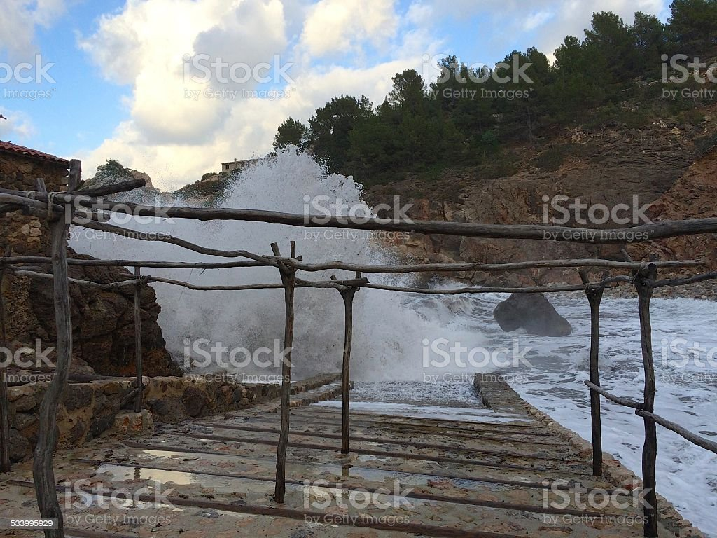 Monster waves in Cala Deia, Mallorca, Storm, Winter Season stock photo