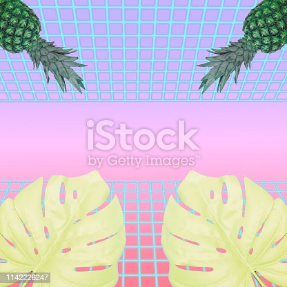 1125575680 istock photo monstera leaves and pineapples. Neon road background with gradient colors 1142226247