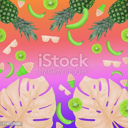 1125575680 istock photo monstera leaves, ice cream, bananas, sunglasses and pineapples. Neon background with gradient colors 1142226287