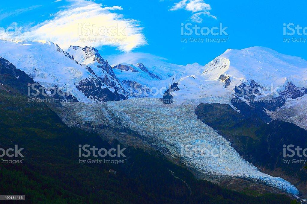 Mont Blanc, Aiguille Du midi, Bossons glacier alpine landscape – Chamonix stock photo
