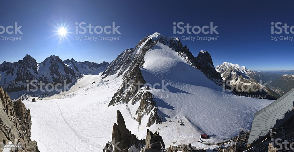Mont Blanc and Argentiere glacier panorama, France stock photo