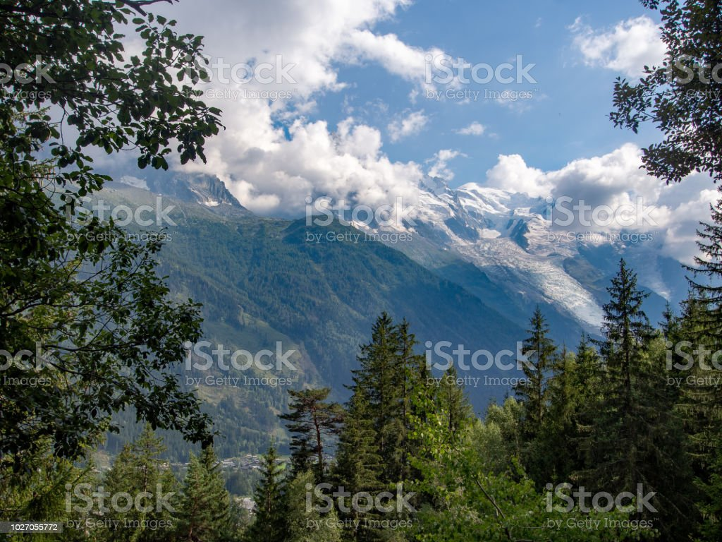 Mont blanc and the European Alps near Chamonix, Haute Savoie, France. Mountains seen through trees from the popular footpath 'petit balcon sud' ie small south trail. stock photo