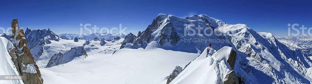 Mont Blanc and Vallee Blanche stock photo