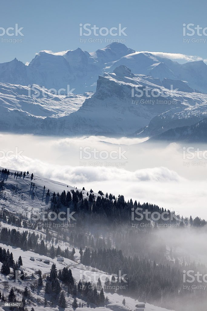 Mont Blanc e valli foto stock royalty-free