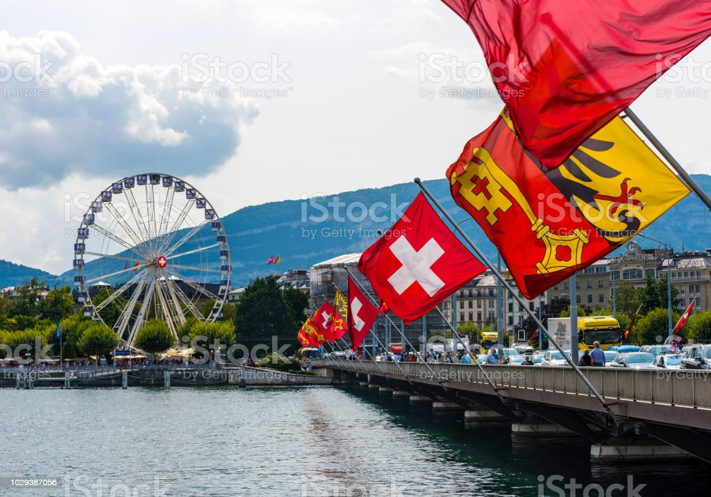 922768d94 Mont Blanc Bridge And Swiss Flags With Ferris Wheel Geneva In ...