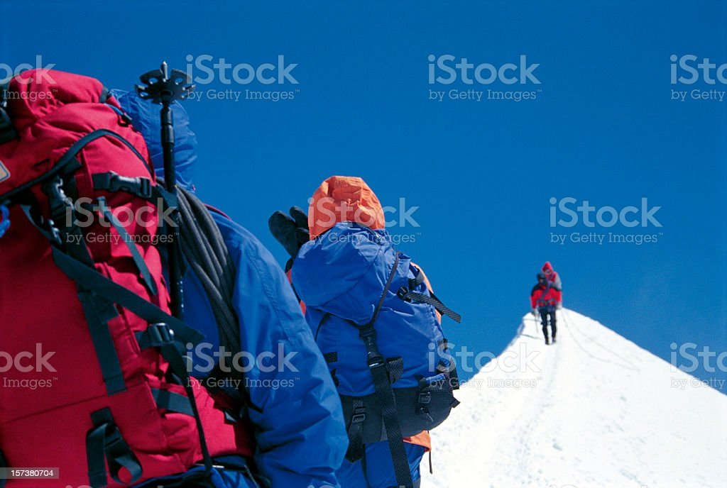 Mont Blanc, climbers mountaineers approaching summit royalty-free stock photo