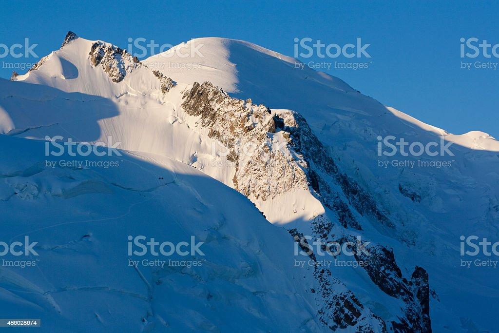 Mont Blanc du Tacul from Aiguille du midi stock photo