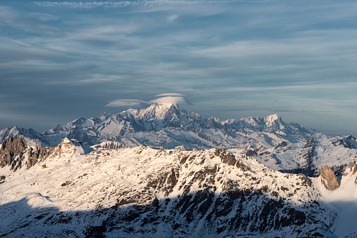 Mont Blanc from Les Menuires resort. French alps in winter, snowy mountains in France Europe