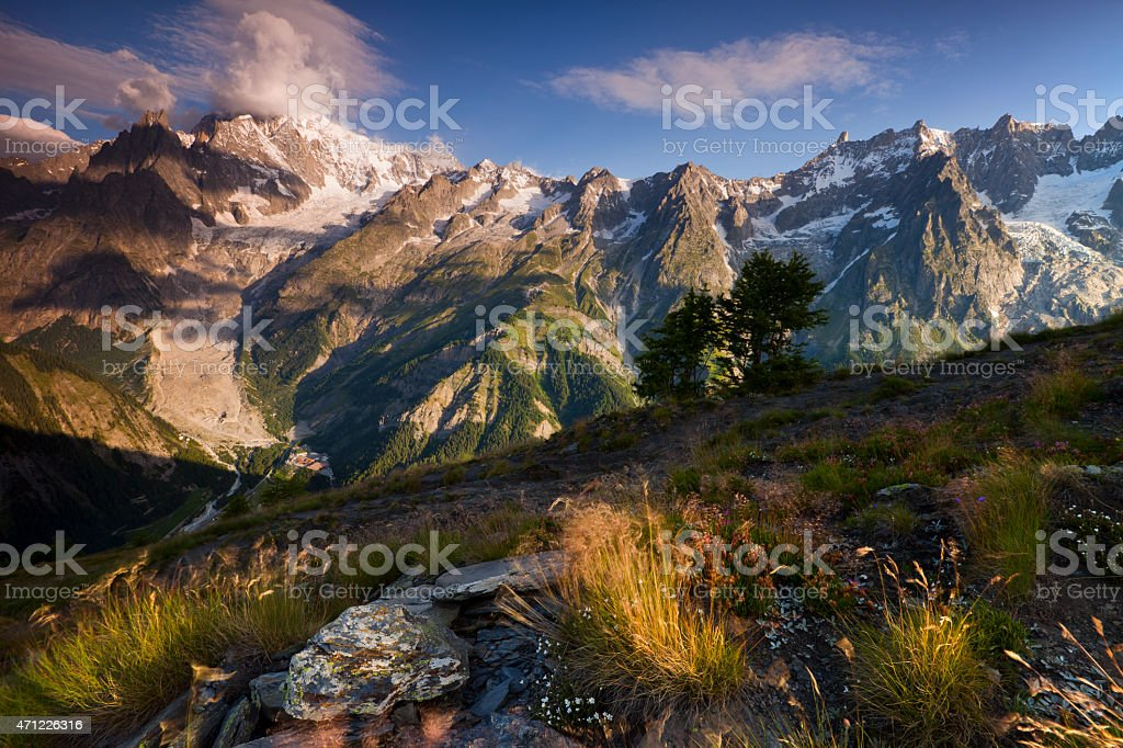 Mont Blanc from Val Ferret, Aosta Valley, Italy stock photo