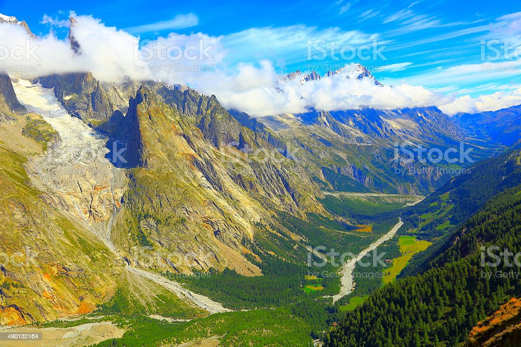 Mont Blanc Grandes Jorasses, alpine landscape, Aosta - Courmayeur stock photo