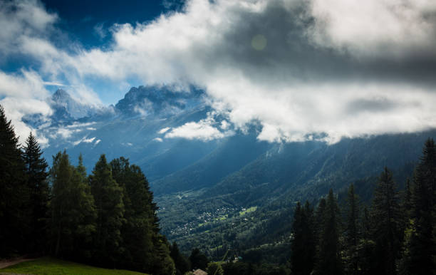 Mont Blanc hidden by clouds stock photo