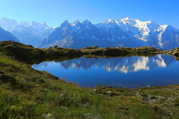Mont Blanc, idyllic swiss lake Cheserys reflection, Chamonix, French Alps - Photo