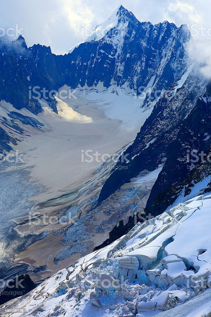 Mont Blanc impressive alpine needles, glaciers – Mont Dolent, Chamonix stock photo