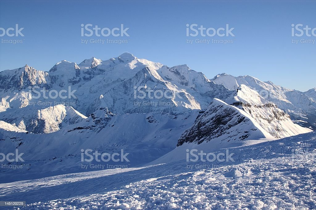 Mont Blanc in winter royalty-free stock photo