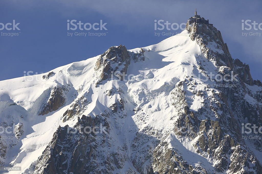 Mont Blanc massif and the Aiguille du Midi royalty-free stock photo