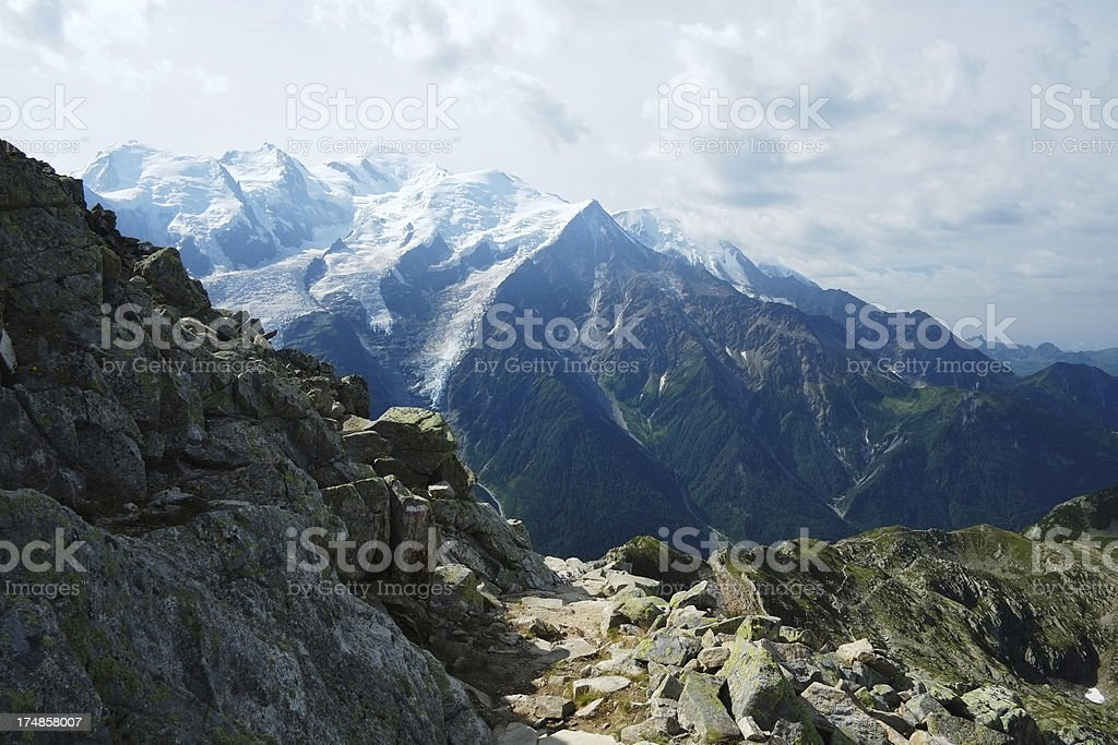 Mont Blanc Massif in the Alps royalty-free stock photo
