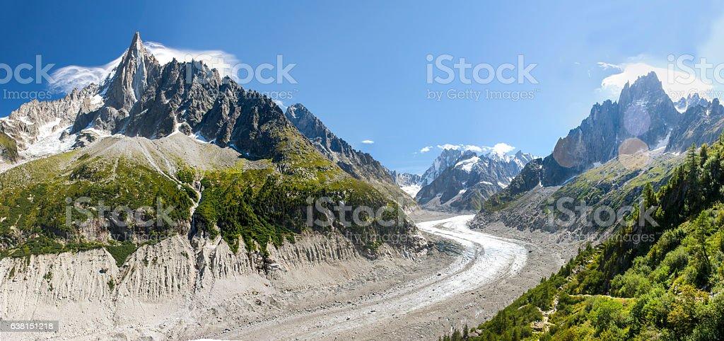 Mont Blanc Massif. Mer de Glace with Aiguille du Dru stock photo