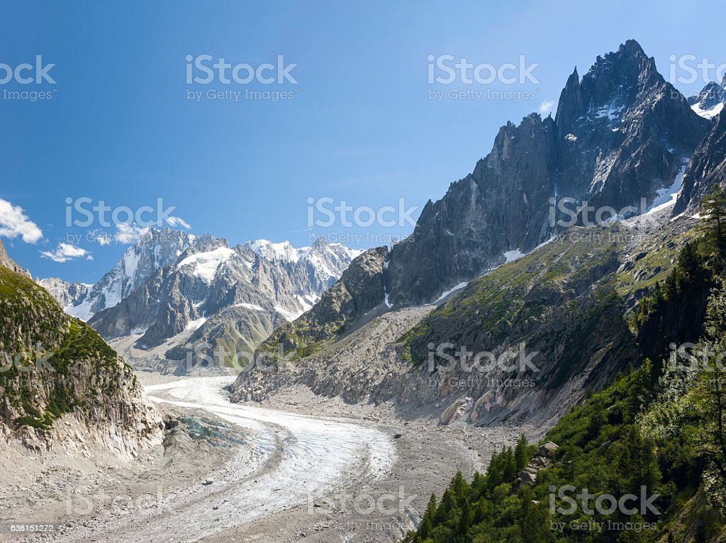 Mont Blanc Massif. Mer de Glace with Aiguille du Tacul stock photo