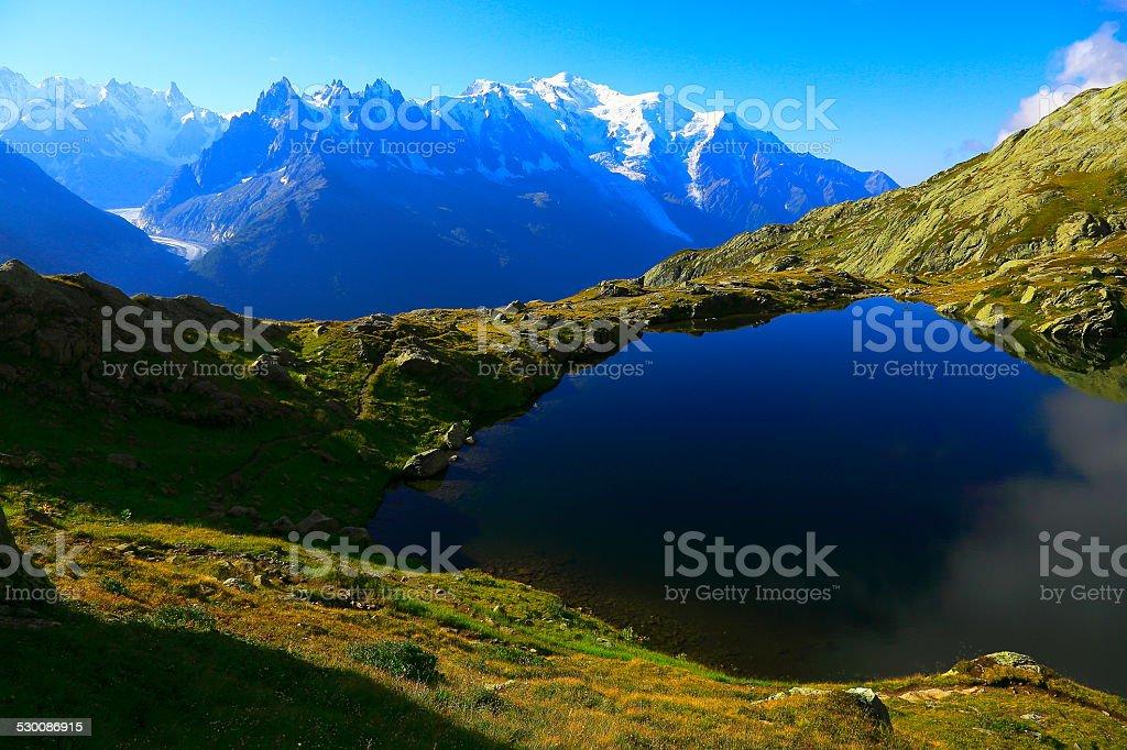 Mont Blanc Massif reflection and lake Cheserys, Chamonix, French Alps stock photo