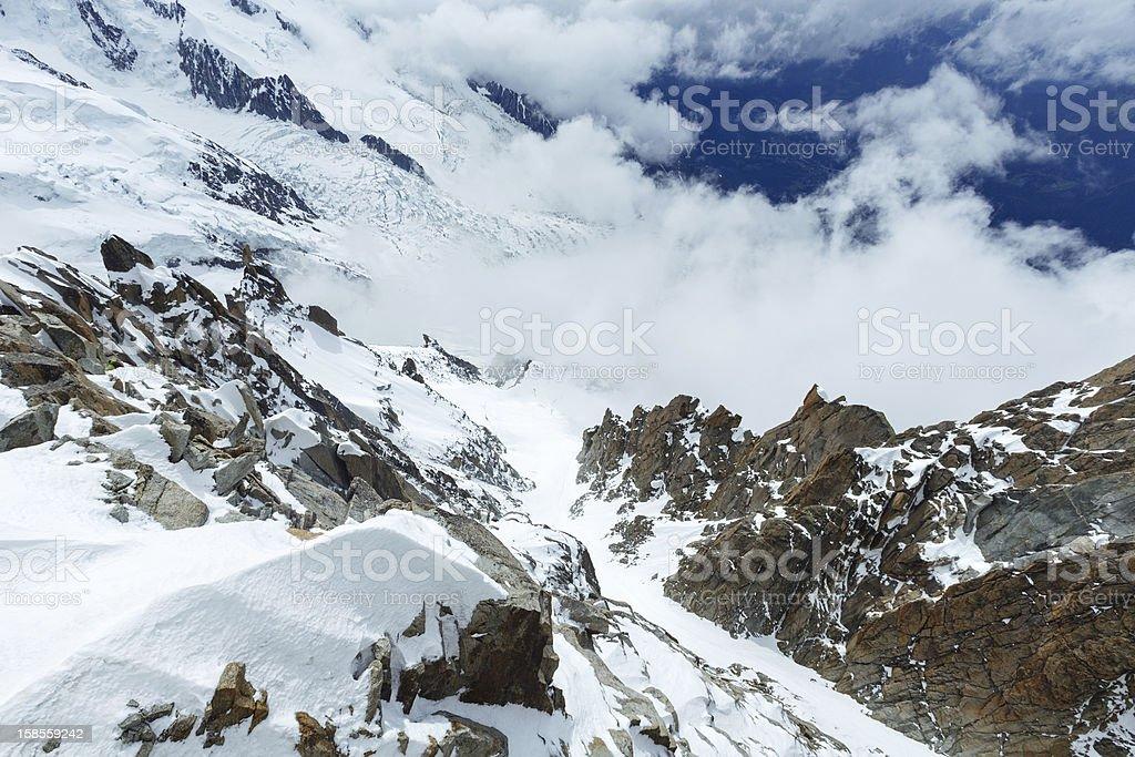 몽블랑 산 대산괴 (프랑스 royalty-free 스톡 사진