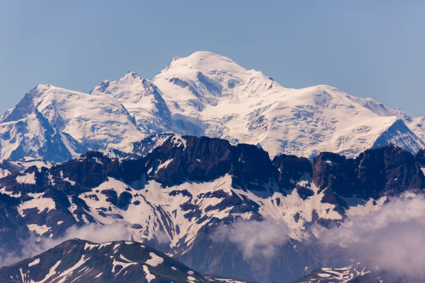 mont blanc mountain seen from le grammont mountain in switzerland. - monte bianco foto e immagini stock