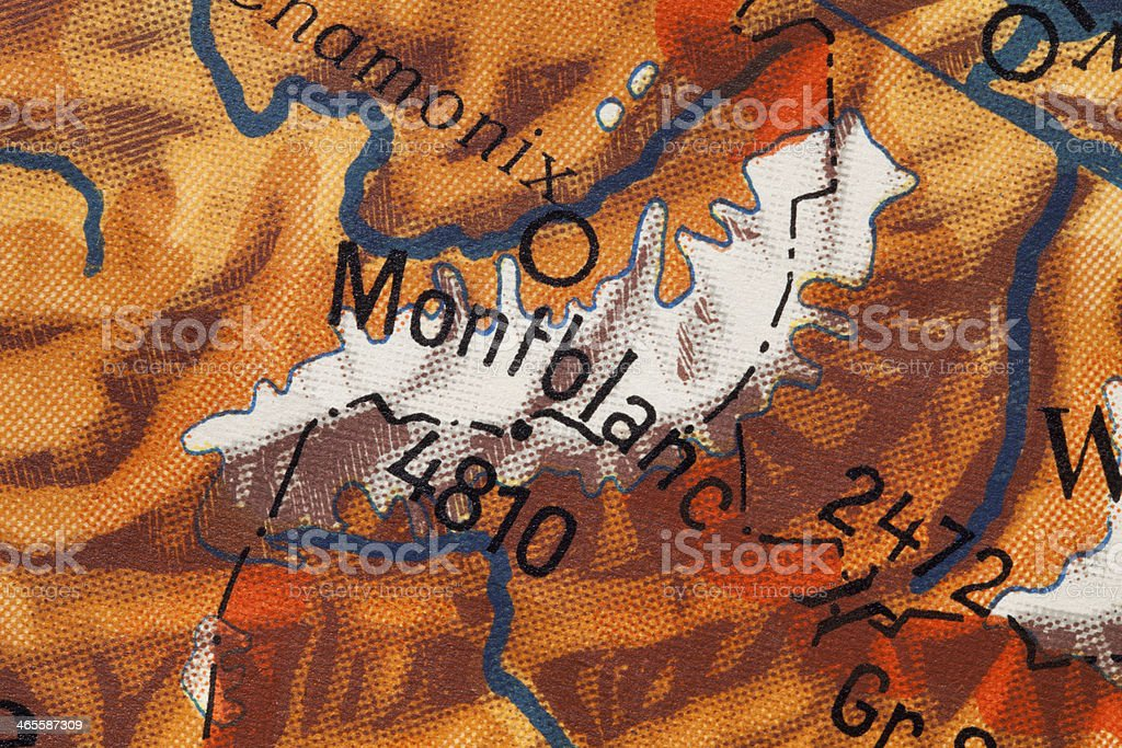 Mont Blanc. Old map. royalty-free stock photo