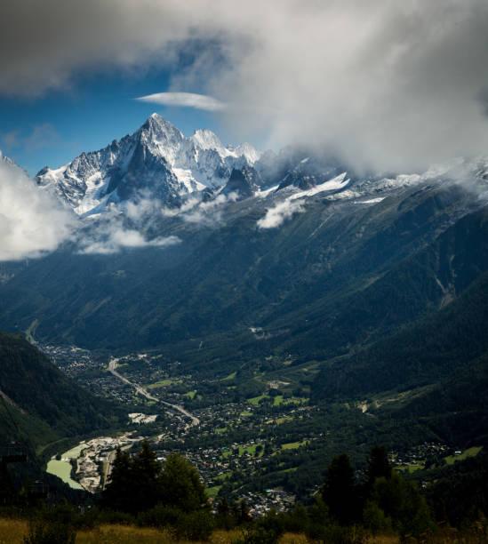 Mont Blanc over Chamonix France stock photo