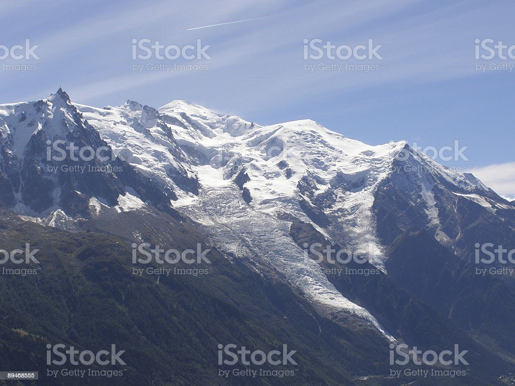 Mont Blanc range and glaciers royalty-free stock photo